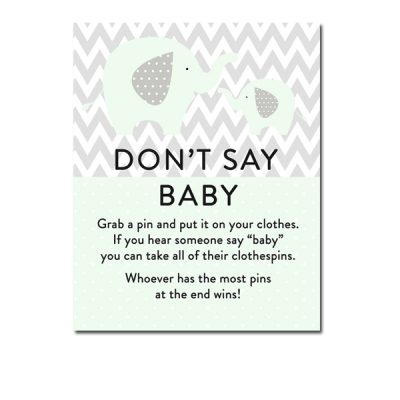 Baby-Shower-Mint-Green-Chevron-Gray-Elephant-Dont-Say-Baby