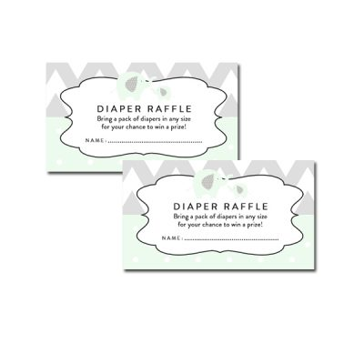 Baby-Shower-Mint-Green-Chevron-Gray-Elephant-Diaper-Raffle