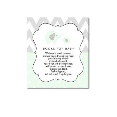 Baby-Shower-Mint-Green-Chevron-Gray-Elephant-Books-For-Baby