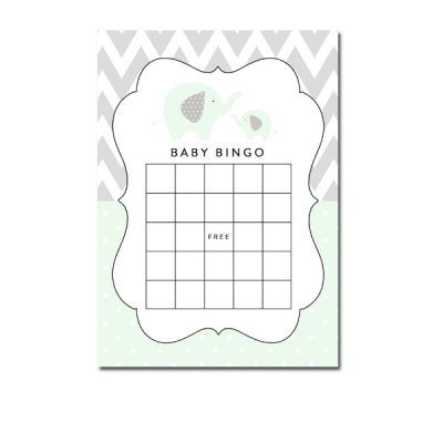 Baby-Shower-Mint-Green-Chevron-Gray-Elephant-Bingo