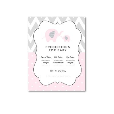 Baby-Shower-Pink-Gray-Elephant-Predictions-For-Baby