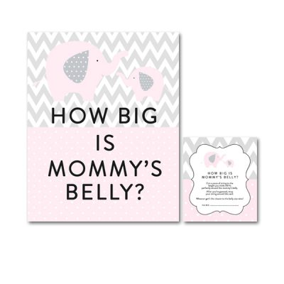 Baby-Shower-Pink-Gray-Elephant-How-Big-Is-Mommys-Belly
