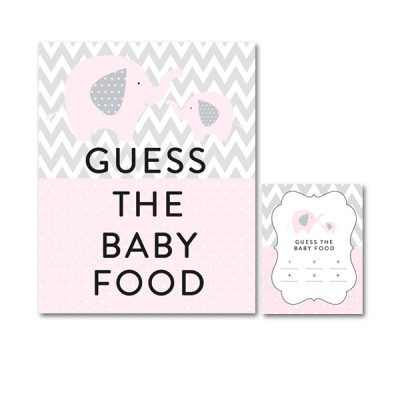 Baby-Shower-Pink-Gray-Elephant-Guess-Baby-Food