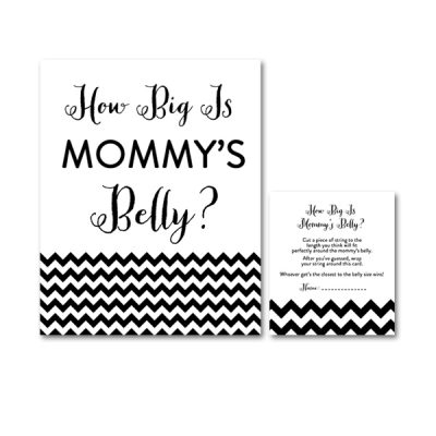 Baby-Shower-Black-White-Chevron-How-Big-Is-Mommys-Belly