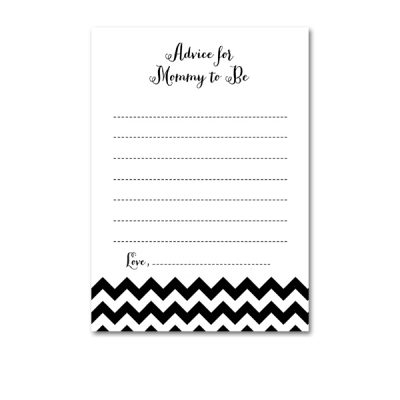 Baby-Shower-Black-White-Chevron-Advice-For-Mommy