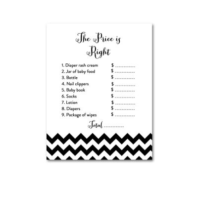 Baby-Shower-Black-White-Chevron-The-Price-Is-Right