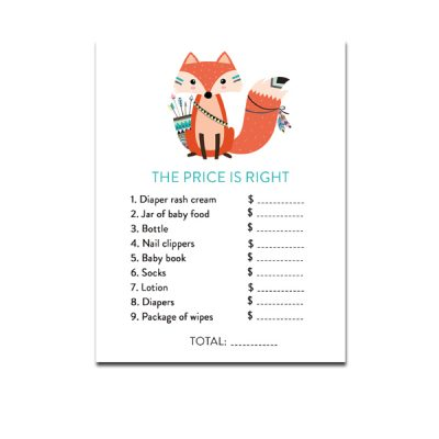 Baby-Shower-Printable-Tribal-Fox-The-Price-Is-Right