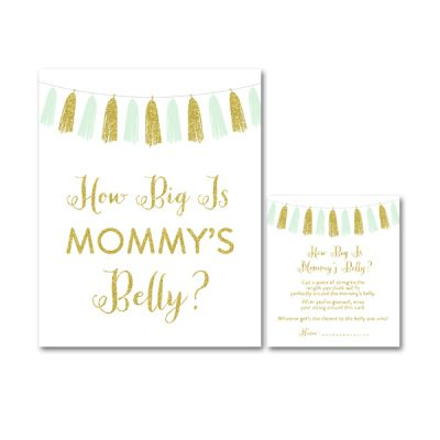Baby-Shower-Printable-Mint-Gold-Tassel-How-Big-Mommys-Belly
