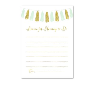 Baby-Shower-Printable-Mint-Gold-Tassel-Advice