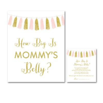 Baby-Shower-Pink-Gold-Tassle-How-Big-Is-Mommys-Belly
