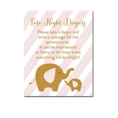Baby-Shower-Pink-Gold-Elephant-Late-Night-Diapers