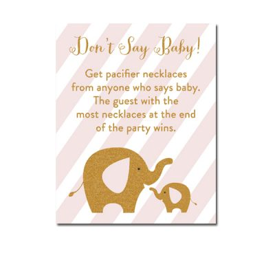 Baby-Shower-Pink-Gold-Elephant-Dont-Say-Baby-Game