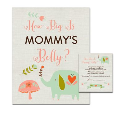 Aqua-Elephant-Baby-Shower-Game-How-Big-Mommys-Belly