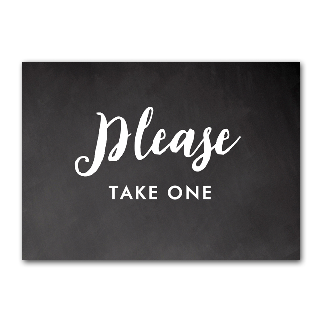 Wedding Sign Rustic Chalkboard Please Take One Instant