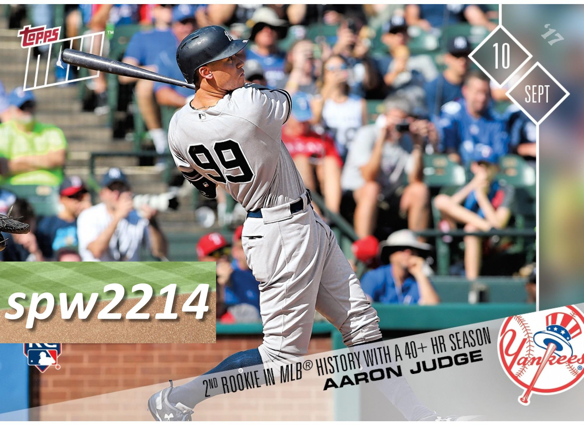 Aaron Judge 2017 Topps Now #585 - 2nd Rookie in MLB History With a 40+ HR Season