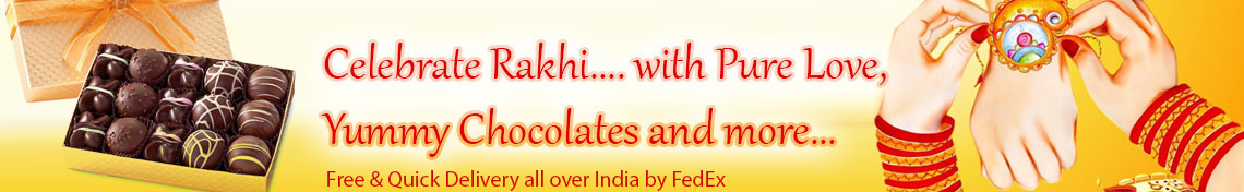 Send beautiful rakhi to your brother with chocolates online India by FedEx free and quick delivery.