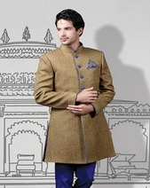 Solid Khakhi Indo-western/long coat