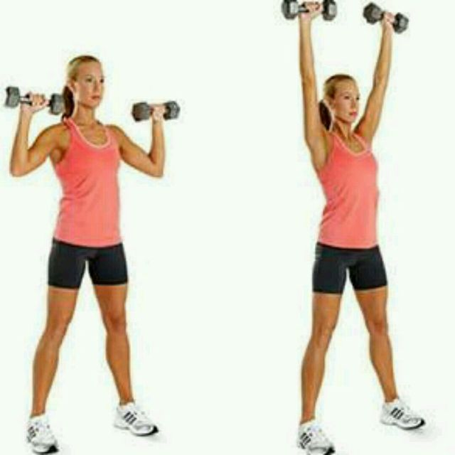 Standing Dumbbell Military Press: Upright Row To Shoulder Press