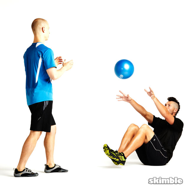 Seated Ball Toss with Standing Partner - Exercise How-to | Workout ...