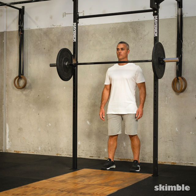 How to do: Front Barbell Squat Cross Arms - Step 1