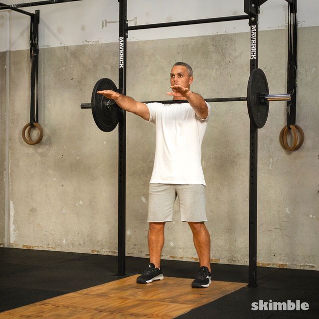 How to do: Front Barbell Squat Cross Arms - Step 2