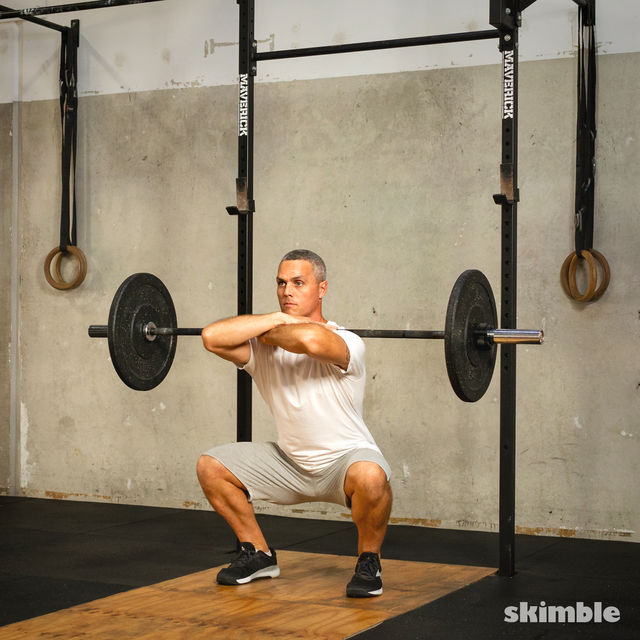 How to do: Front Barbell Squat Cross Arms - Step 5