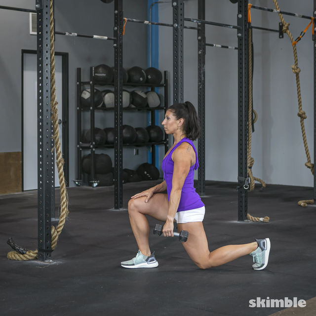 How to do: Right Lunge With Left Rows - Step 3