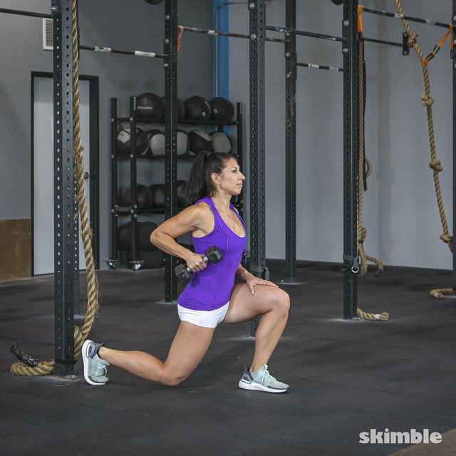 How to do: Left Lunge With Right Rows - Step 4