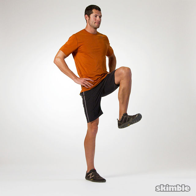 Lunges with Knee Lifts - Exercise How-to - Workout Trainer by Skimble