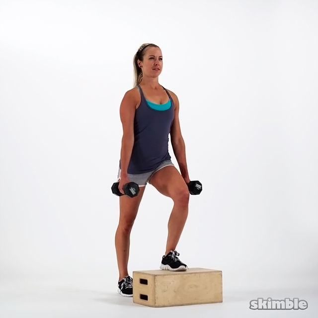 Dumbbell Bench Step Ups Exercise How To Workout Trainer By Skimble