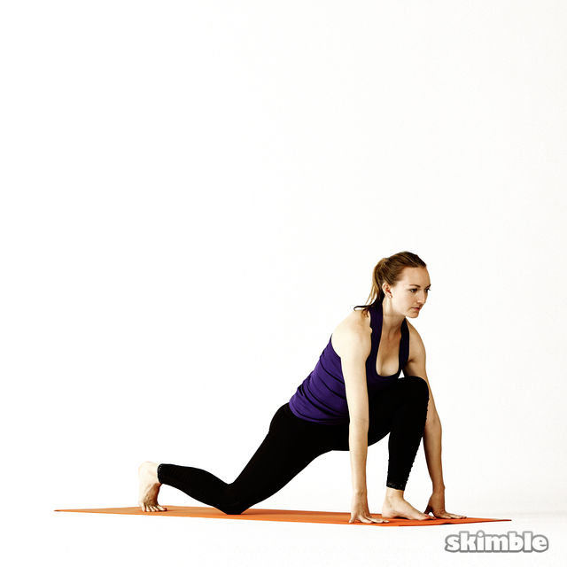 Left Twisting Low Lunge - Exercise How-to | Workout Trainer by Skimble.com