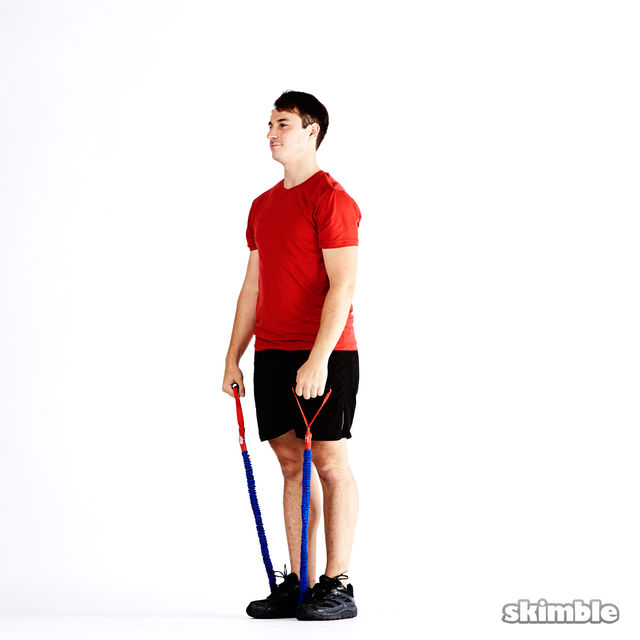 Right Lunge With Band Bicep Curl