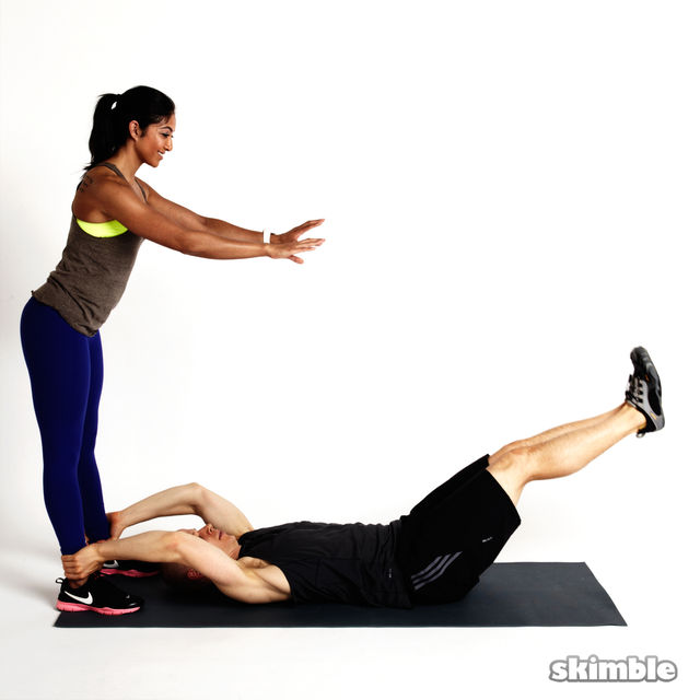 Partner Leg Lifts - Exercise How-to - Workout Trainer by ...