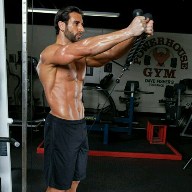 rope cable front raise exercise howto workout trainer