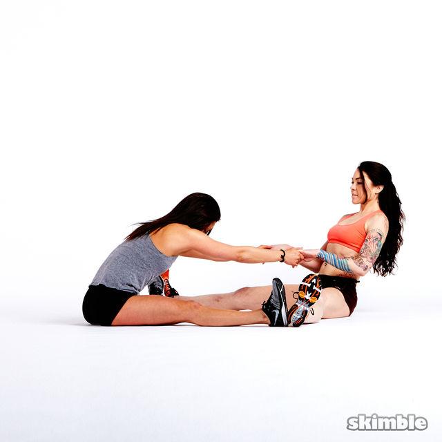 How to do: Buddy Split Stretches - Step 4