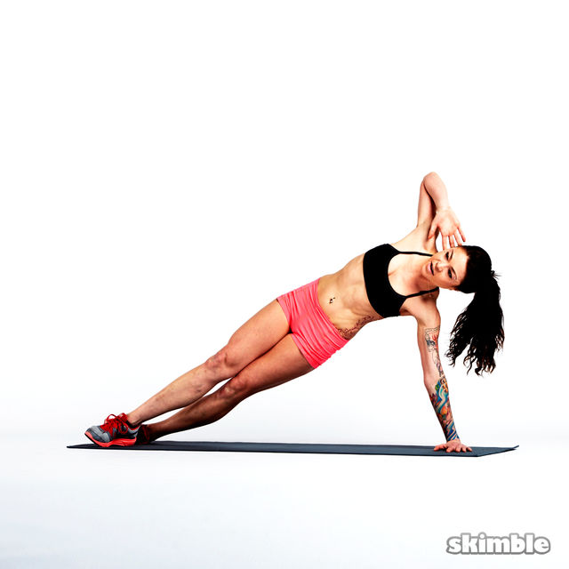 Right Side Plank Crunches - Exercise How-to - Workout ...