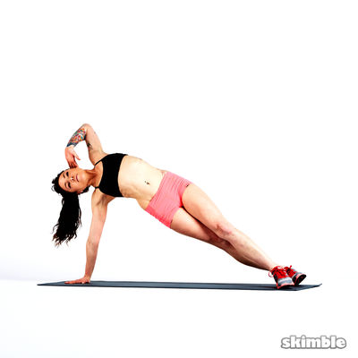 Left Side Plank Crunches