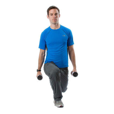 Standing Dumbbell Lunges With Bicep Crossover