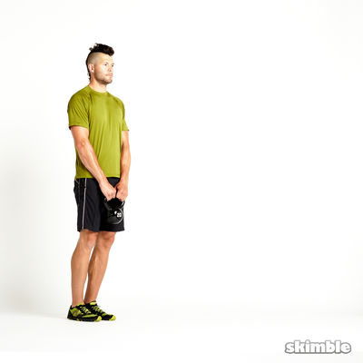 Right Lunge with Kettlebell Raise