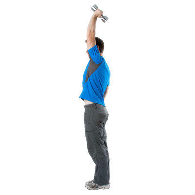 Extend the dumbbell straight above, keeping good posture. Do not overextend your elbow.