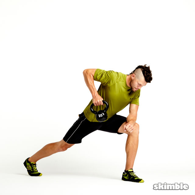 Left Lunge With Kettlebell Rows Exercise How To