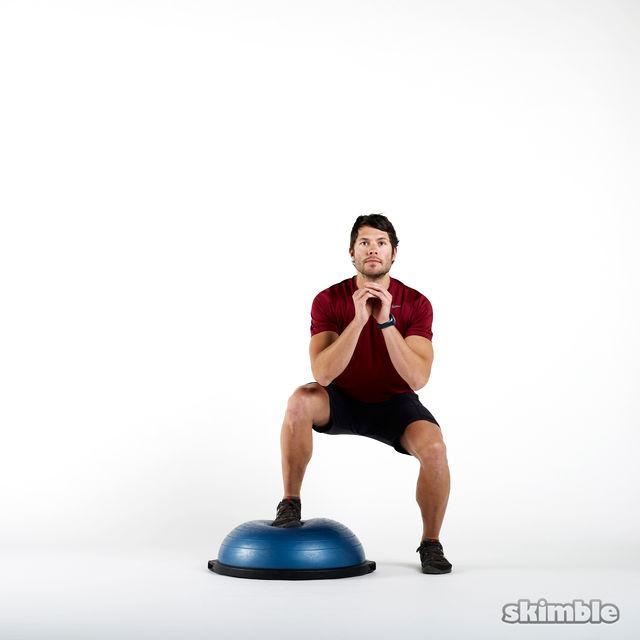 Bosu Ball Ankle Exercises: BOSU Squat Hopovers