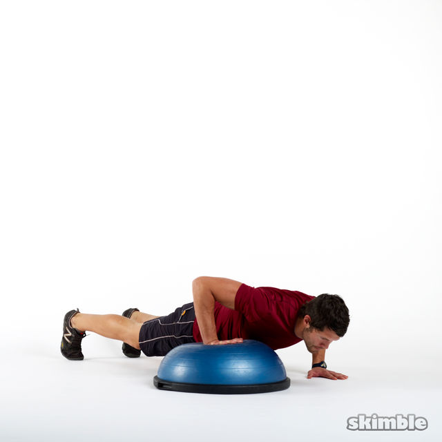 bosu right offset push-ups - exercise how-to