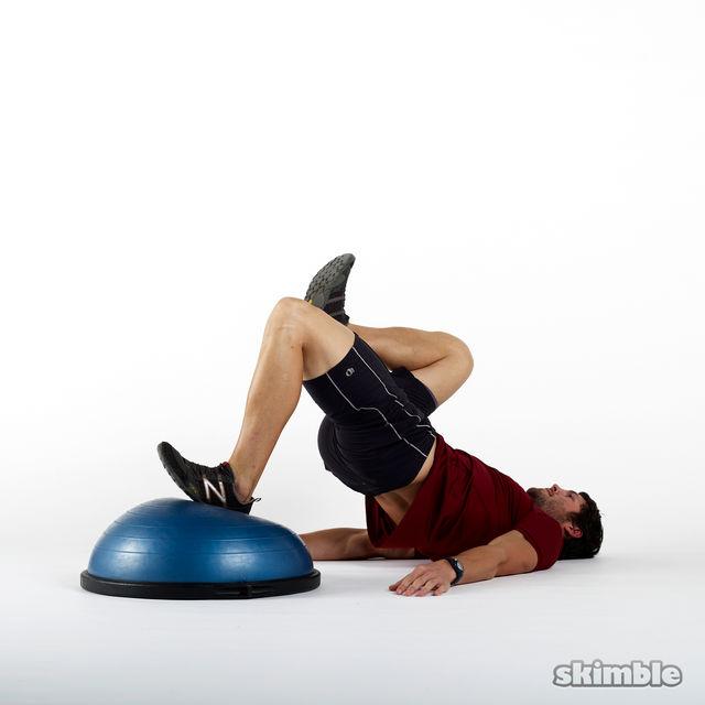 bosu left leg floor bridges - exercise how-to