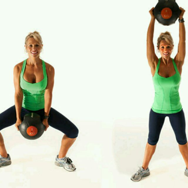 Medicine Ball Floor To Ceiling Squats - Exercise How-to - Workout