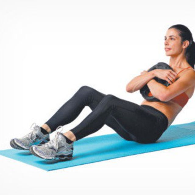 sit up with weights - exercise how-to