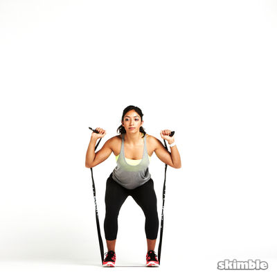 Squats to Shoulder Press with Band