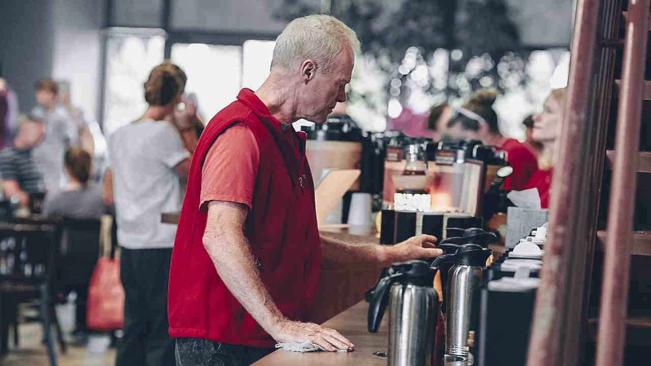 Serving coffee bar