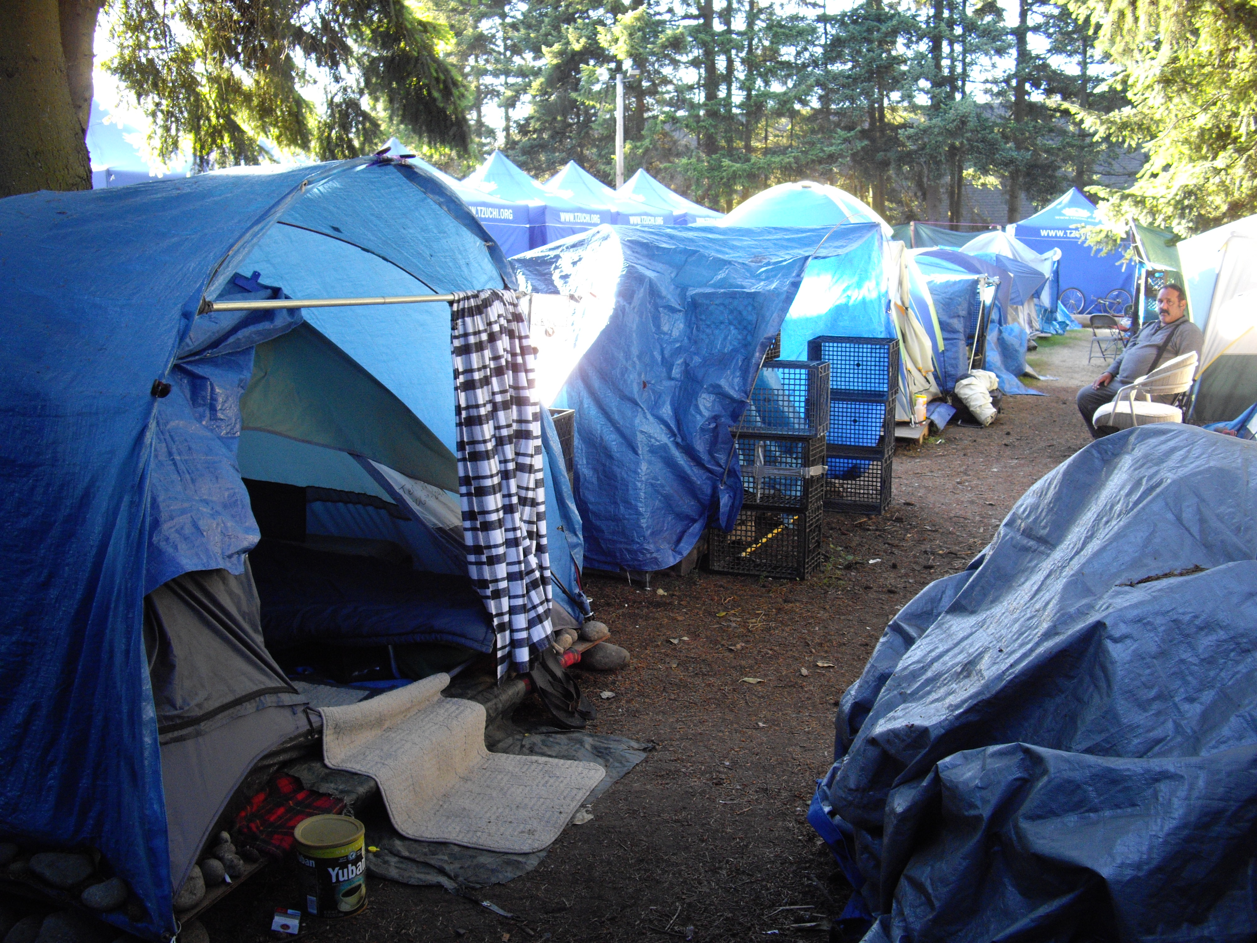 Tents line the hillside above Calvin Presbyterian Church in Shoreline & PRX » Piece » Tent City