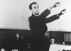 Caption: Czech composer Karel Anerl conducting the Terenzin Strings Orchestra. Photo from propaganda film made by the Nazis, Credit: Courtesy of the US Holocaust Memorial Museum